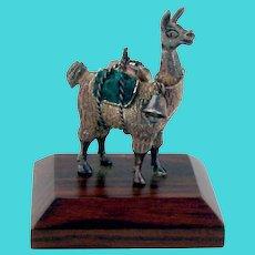Llama Figurine Sterling Silver Wooden Base Gemstones