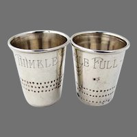 Thimble Full Shot Cups Pair Mexican Sterling Silver 1950s
