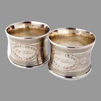 Engine Turned Napkin Rings Pair Coin Silver 1870 Mono Ellis