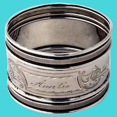 Aesthetic Napkin Ring Gorham Sterling Silver 1877 Mono Auntie