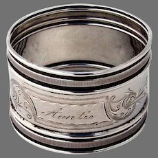 Aesthetic Napkin Ring Gorham Sterling Silver 1877 Mono Auntie