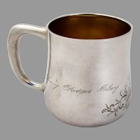 Aesthetic Engraved Baby Child Cup Matte Finish Sterling Silver Towle