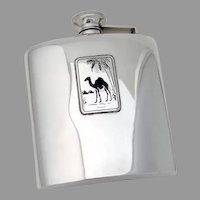 Egypt Motif Hip Flask Black Enamel Sterling Silver Webster 1940