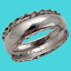 English Napkin Ring Pie Crust Border Sterling Silver Mono Q