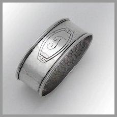 Hammered Oval Napkin Ring Sterling Silver Webster Mono T