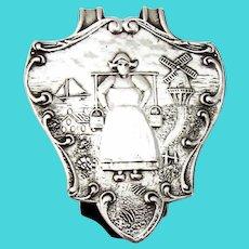 Dutch Woman Napkin Clip Sterling Silver