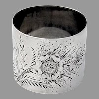 Aesthetic Engraved Floral Napkin Ring Sterling Silver Mono FCA