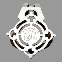 Cutwork Napkin Clip Watrous Sterling Silver Mono MMP