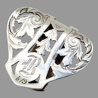 Foliate Cutwork Napkin Clip Webster Sterling Silver Mono B 6-19