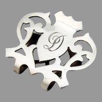Cutwork Napkin Clip Lunt Sterling Silver Mono D