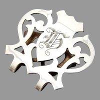 Lunt Cutwork Napkin Clip Sterling Silver Mono H