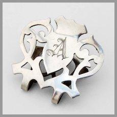 Lunt Cutwork Napkin Clip Sterling Silver Mono A