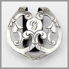 Scroll Cutwork Napkin Clip Webster Sterling Silver Mono G