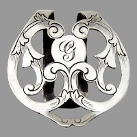 Scroll Cutwork Napkin Clip Webster Sterling Silver Mono G