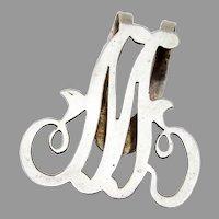 Figural M Mono Napkin Clip Sterling Silver Apollo