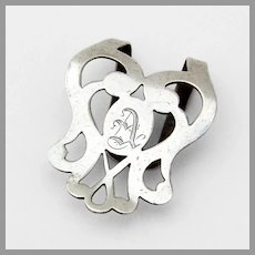 Webster Cutwork Napkin Clip Sterling Silver Mono A