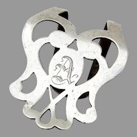 Webster Cutwork Napkin Clip Sterling Silver Mono A