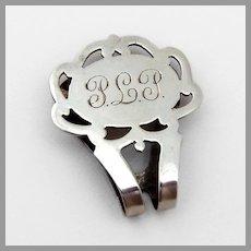 Cut Out Design Napkin Clip Watrous Sterling Silver Mono PLP