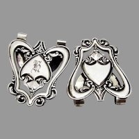 Ornate Napkin Clips Pair Saart Co Sterling Silver Mono H