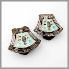 Floral Enamel Napkin Clips Pair Webster Sterling Silver Monos