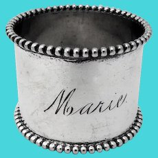 Beaded Napkin Ring Sterling Silver Mono Marie