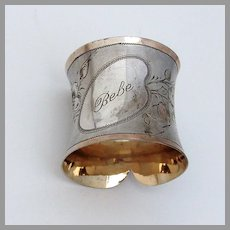 Collar Form Engraved Napkin Ring Gilt Matte 800 Silver Mono Bebe