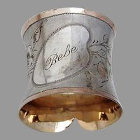 Collar Form Engraved Napkin Ring Gilt Matte 800 Silver Mono Bebe