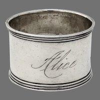 Banded Border Napkin Ring Sterling Silver 1900 Mono Alice