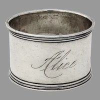 Banded Border Napkin Ring Sterling Silver 1900 Mono Alice