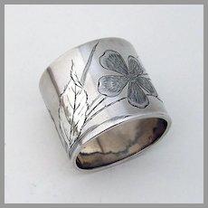 Floral Engraved Napkin Ring Sterling Silver Gorham 1884  No mono