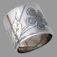 Floral Engraved Napkin Ring Sterling Silver Gorham 1884  No mono