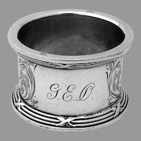 Engraved Napkin Ring Applied Border La Pierre Sterling Silver Mono GEO