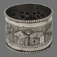 Tropical Village Scene Napkin Ring South East Asian 900 silver