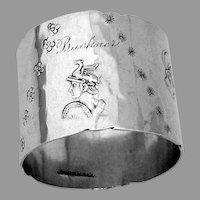 Roman Deity Napkin Ring Duhme Sterling Silver Mono Buckner