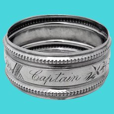 Beaded Engraved Narrow Napkin Ring Coin Silver Mono Captain