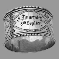 Victorian Engraved Beaded Napkin Ring  Sterling Silver Mono 1886