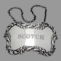 Scotch Bottle Tag Label Repousse Border Sterling Silver