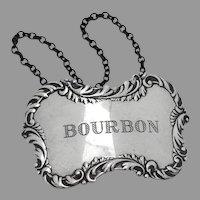Bourbon Bottle Tag Label Repousse Border Sterling Silver