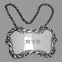 Rye Bottle Tag Label Repousse Border Sterling Silver