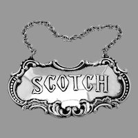 Repousse Scotch Bottle Tag Label Scroll Border Gorham Sterling Silver
