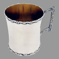 Wallace Childs Cup Scroll Rims Log Form Handle Sterling Silver