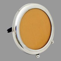 Small Round Picture Frame Ball Feet Sterling Silver