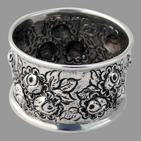 Repousse Rose Napkin Ring Sterling Silver 1940 No Mono