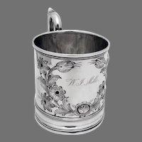 Floral Chased Mug James Bogert Coin Silver 1845 Mono