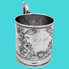 Floral Chased Mug James Bogert Coin Silver 1845 Mono