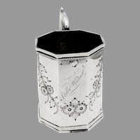 Octagonal Cup Chased Floral Design Wood Hughes Coin Silver Mono