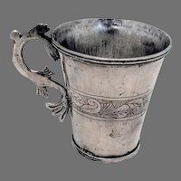 Antique Spanish Colonial Silver Cup Mug Fish Handle 1820