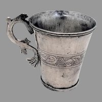 Antique Spanish Colonial Silver Cup Mug Fish Handle 1820
