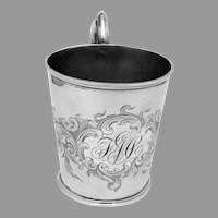 Antique Engraved Cup John Moore Coin Silver 1851 Mono FMS