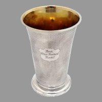 Austrian Beaker Engine Turned Design 13 Loth Silver 1847